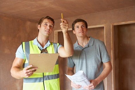 Home Inspector and builder inside home